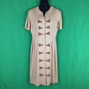 40's 50's Designed by Lampl Tan Day Dress 38 Bust